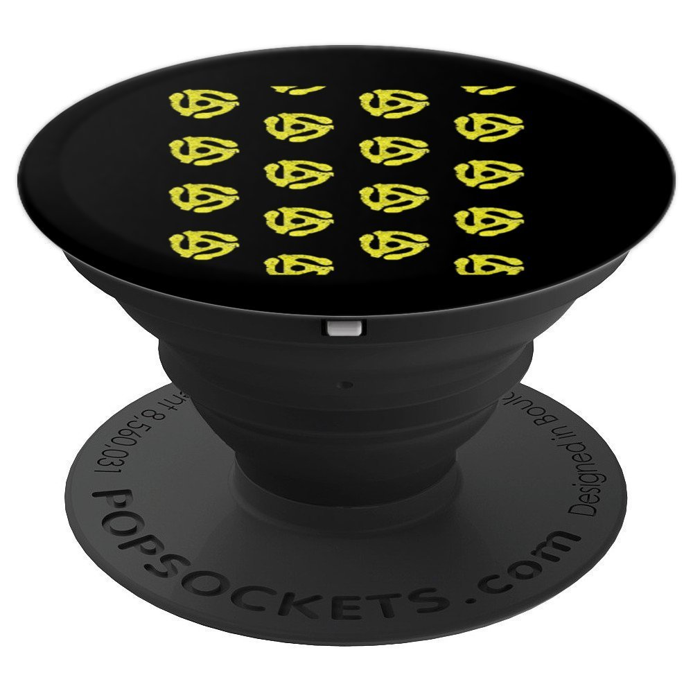 DJ 45 RPM Adapter Turntable Record Yellow Music Black - PopSockets Grip and Stand for Phones and Tablets