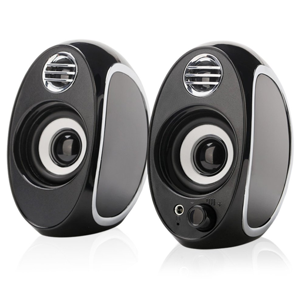 TuparGo DX18 USB Powered Computer Speakers with Headphone Jack,10W Peak Power Apply To Any 3.5mm Port-Equipped Media Players(Black)