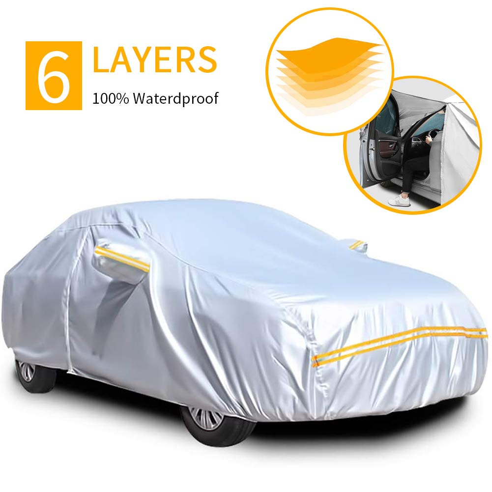 Car Covers Waterproof,Car Cover for Sedan 6 Layers Outdoor Protection Universal Full Cover with Zipper A3-3XXL Fits Sedan 191 to 208