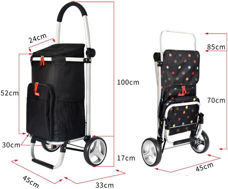 Insulated Shopping Cart,6.7-inch Wheels 40L Capacity FKDECHE Designed for Picnic and Shopping 50kg Load