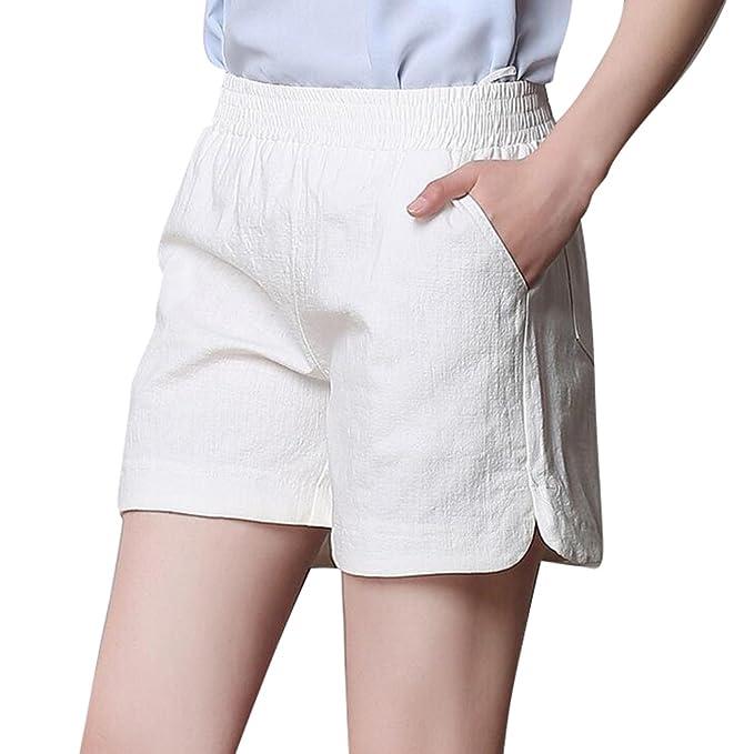 bb8ed0f54 YiLianDa Moda Mujer Verano Señora Casual Pantalones Cortos Beach High Waist