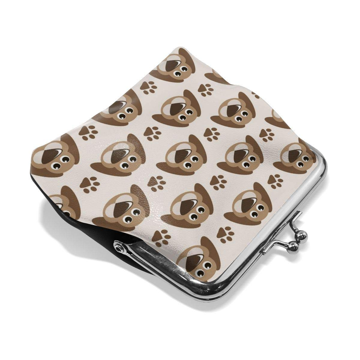 Poream Seamless Pattern With Cute Dogs And Paw Prints Customized Retro Leather Cute Classic Floral Coin Purse Clutch Pouch Wallet For Girls And Womens