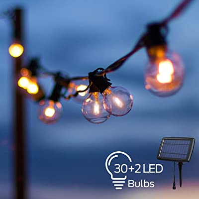 OxyLED LED Solar String Lights with 30+2 G40 Bulbs, 33 Ft Hanging Outdoor LED Globe String Lights Solar Powered 4 Modes Waterproof for Indoor Bedroom Patio Garden Porch Wedding Party Christmas : Garden & Outdoor