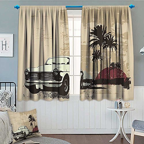 SeptSonne-Home Vintage Window Curtain Fabric Old Classic American Car with Hawaiian Miami City Like Retro Backdrop Drapes for Living Room 72