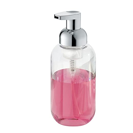 mDesign Juego de dos dosificadores de jabón en espuma - Dispensador de jabón de plástico resistente con válvula - Transparente/plateado - Ideal para la ...