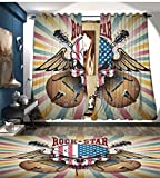 LedfordDecor Guitar Window Curtain Drape Retro Style Composition Angry Skull American Flag Pattern Wings Electric Guitars Decorative Curtains For Living Room Multicolor
