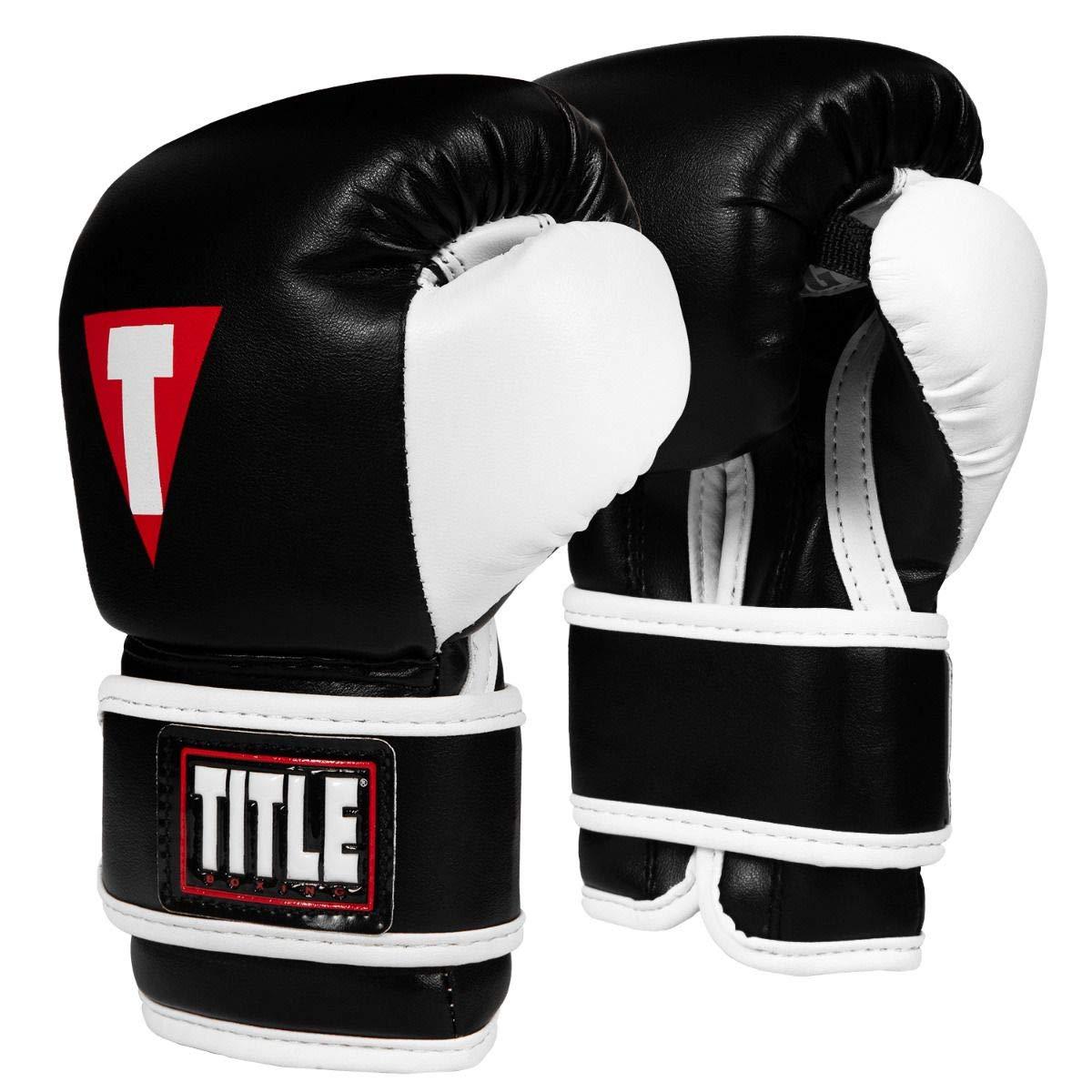 Title ボクシングユースバッググローブ ブラック/ホワイト 4 oz