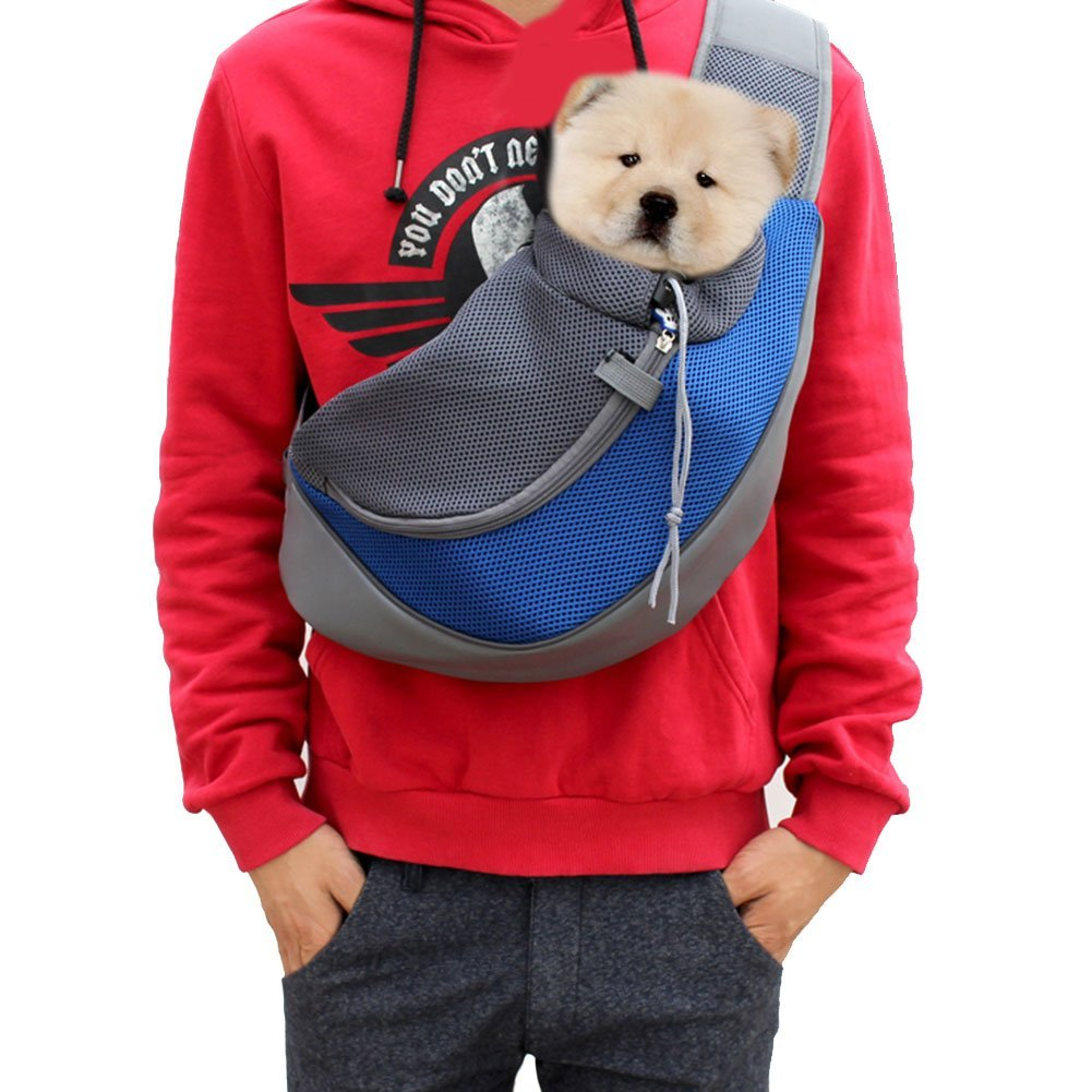 Lily's Pet Sling Carrier- Soft Mesh Hands Free Sling Bag Head Out for Puppy Cat Rabbit Guinea Pig- Single Shoulder Carrier Pet Travel Carrier Pouch- for Pets up to 13.2lb, Blue by Lily's