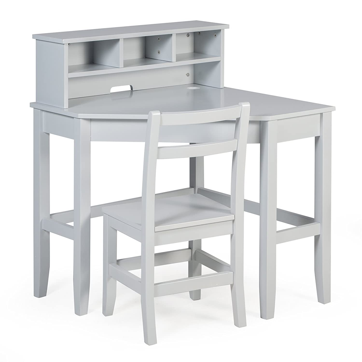 Classic Playtime Juvenile Corner Desk and Reversible Hutch with Chair - Gray ALZ1202