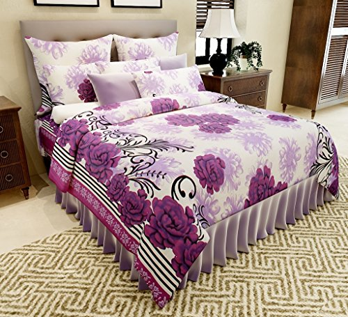 Amethyst Floral Attractive Cotton Double Bedsheet with 2 Pillow Covers – Purple