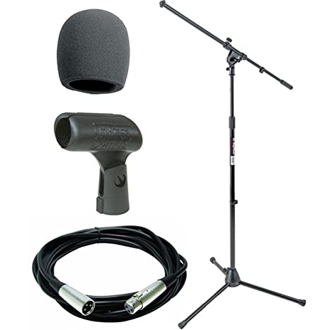 On Stage Stands MS7701B Tripod Boom Microphone Stand With On Stage Foam  Windscreen Black + Mic Cable 20 ft  XLR + On Stage Unbreakable Dynamic  Rubber