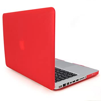 Incutex funda para ordenador portátil para Apple MacBook, rígida rojo mate