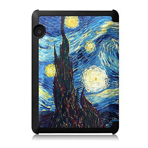 Fintie Case for Kindle Voyage - [The Thinnest and Lightest] Protective PU Leather Slim Shell Cover with Auto Sleep / Wake for Amazon Kindle Voyage (2014), Starry Night by Fintie (Image #6)