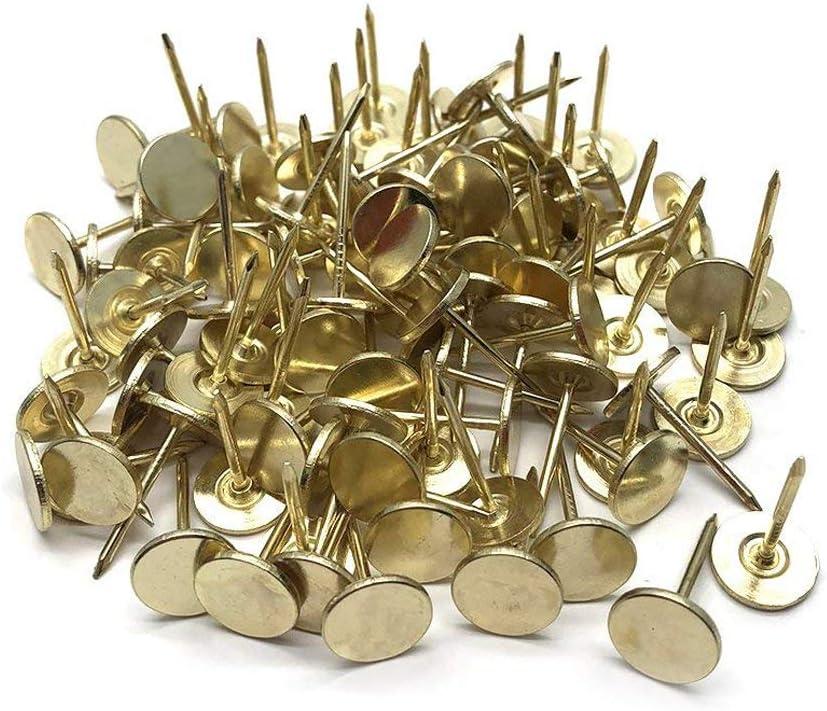 Sydien 11mm/0.43 Inch Dia Flat Head Upholstery Tack Furniture Decor Tack Nail Pushpin Thumb Tack Gold Tone 100 Pcs
