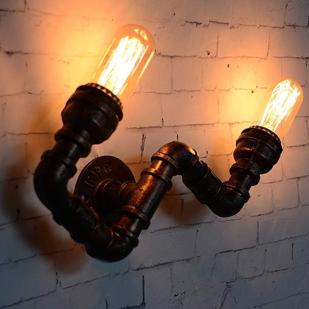 素朴な配水管の壁の照明器具のビンテージデザイン、2つの電球のホールダーが付いているレトロの照明設備、バーレストランのコーヒーショップのための装飾、E27ソケット   B07QV2J47Y