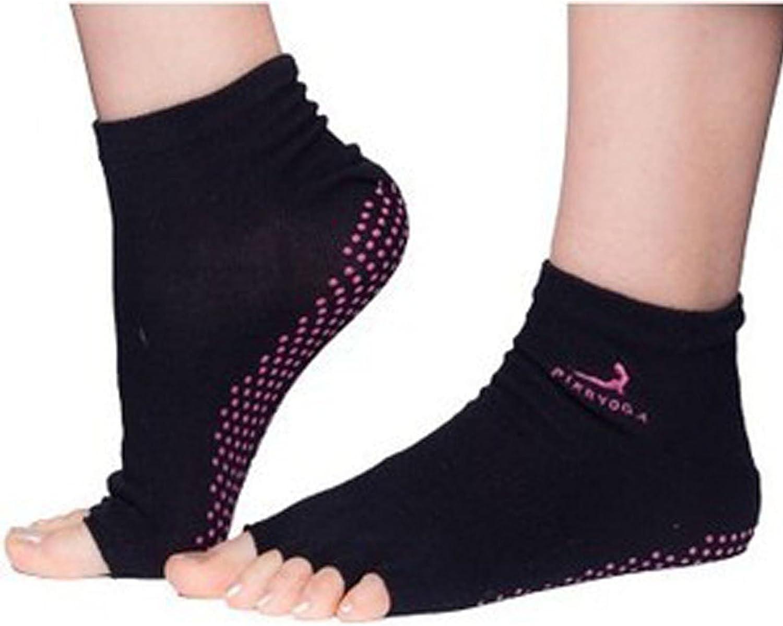 Yoga Socks Non Slip Pilates Massage 5 Toe Socks with Grip Exercise Gym Black