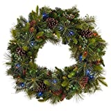 """32"""" Dual Color LED Twinkling Holiday Christmas Indoor/Outdoor Artificial Mixed Greenery Wreath"""