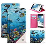 zte reef phone accessories - ZTE Sequoia, ZTE Blade Z Max Case, Slim Dual Layer Hybrid Synthetic Leather Magnetic Closure Flip Wallet Cover With Built in kickstand Card Slot Detachable Wrist Strap Dolphins Reef Sea World