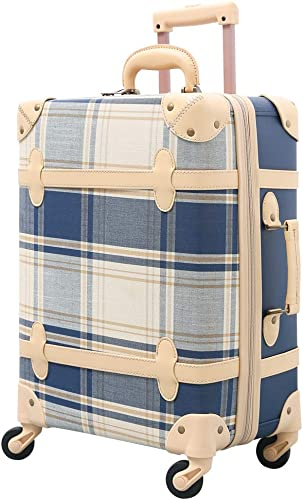 urecity Vintage Trunk Luggage Expandable Women Travel Suitcase with Spinner Wheels blue-plaid, 20