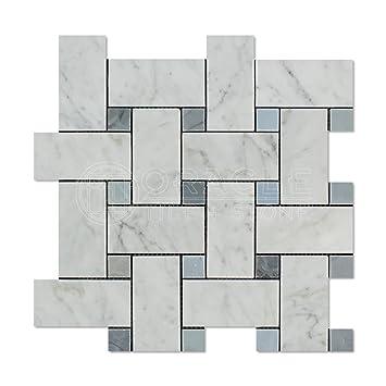 Carrara White Italian Bianco Carrara Marble Large Basketweave