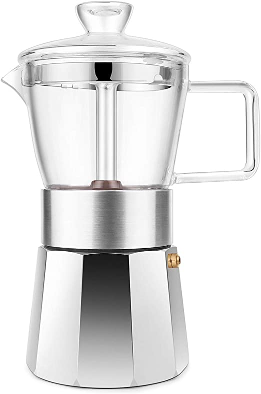 GEESTA Premium Crystal Glass-Top Stovetop Espresso Moka Pot - 6 cup - Coffee Maker