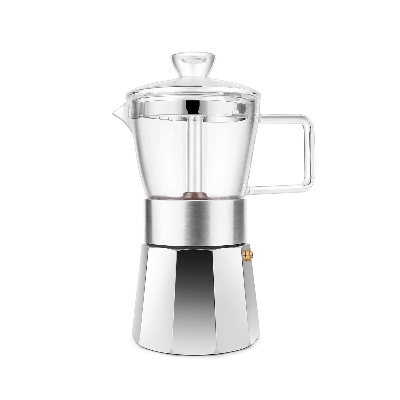 GEESTA Premium Crystal Glass-Top Stovetop Espresso Moka Pot - 6 cup - Coffee Maker with Durable Food-Grade Aluminum Bottom and Retro Shape