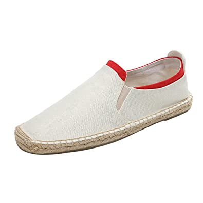 Jitong Herren Espadrille Hausschuhe mit Gummiband Low-Top Slip on Loafers Round-Toe Flache Mokassins