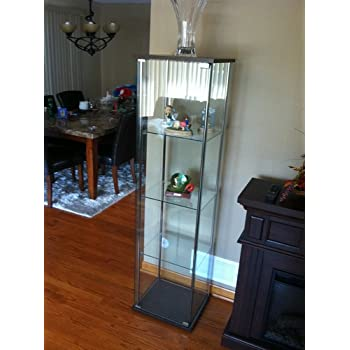 coaster modern glass curio cabinet with cappuccino top and bottom