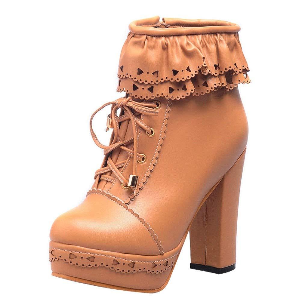 Kauneus Womens Office Party Sweet Lolita Platform Chunky High Heel PU Lace up Ankle Boots Khaki by Kauneus Fashion Shoes
