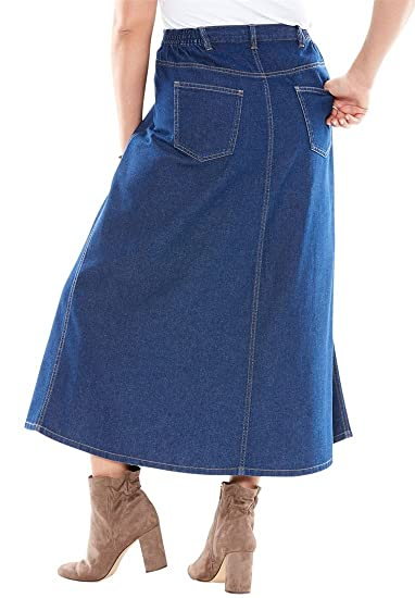 Roamans Women's Plus Size Perfect Denim A-Line Skirt at Amazon ...