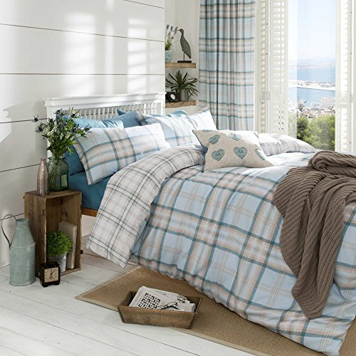 Delicate Catherine Lansfield Cotton Blend Tartan Check Quilt Duvet Cover Bedding  Set U0026 Pillowcases Kelso Duck