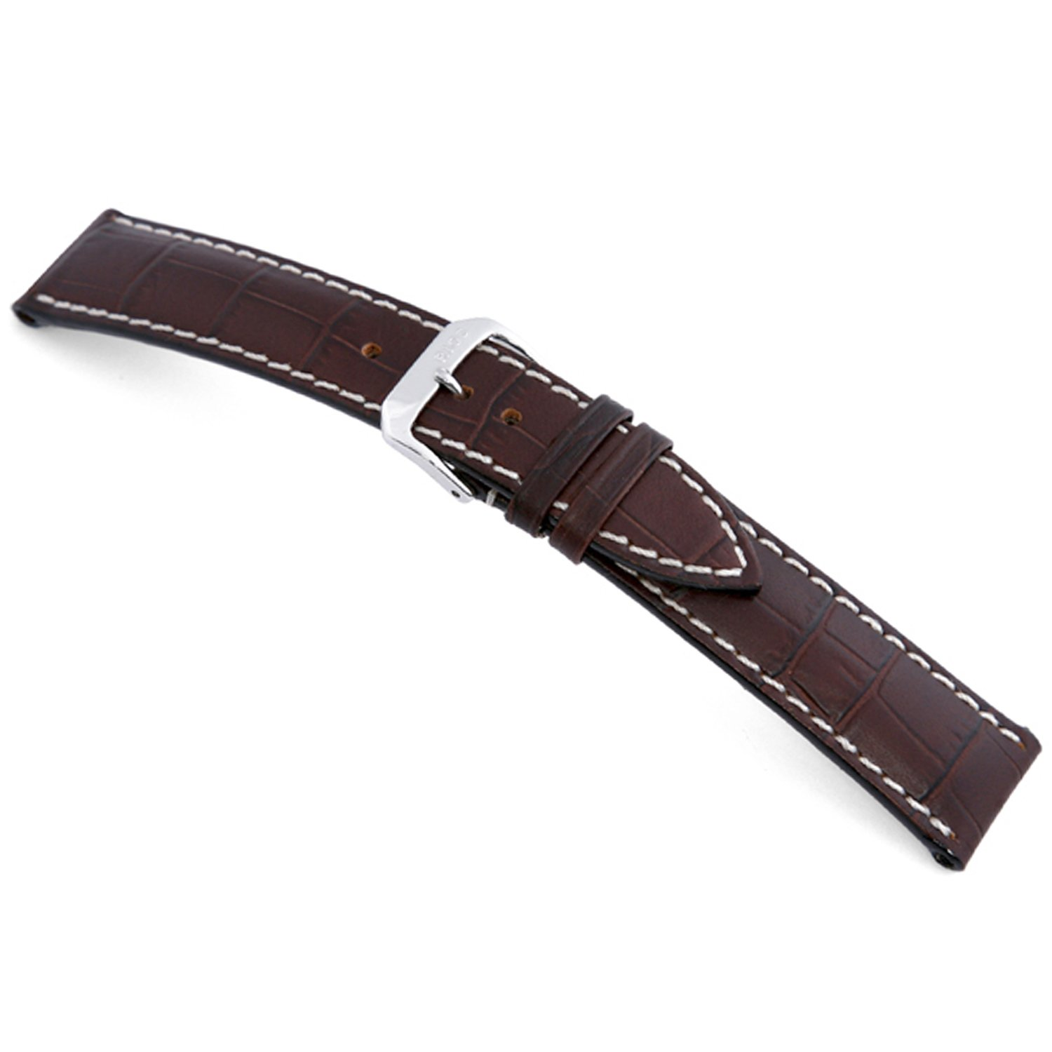 rios1931 New Orleans – 純正エンボスレザーWatch Band with Gator Print andホワイトステッチ 19mm (Standard) モカ 19mm (Standard)|モカ モカ 19mm (Standard) B0748KBK6R