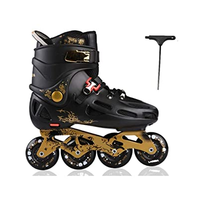 Sljj Inline Skates, Adult Single Row Skates Roller Skates Professional Men and Women Skates Full Set (Black) (Color : Black+A, Size : 37 EU/5 US/4 UK/23.5cm JP): Home & Kitchen