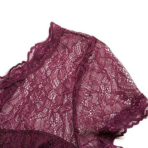 Dentelle Femmes Bewish Floral Évider O Profond Col V Robe Courte Dos Swing Manches Une Ligne Robe De Soirée Vin Rouge