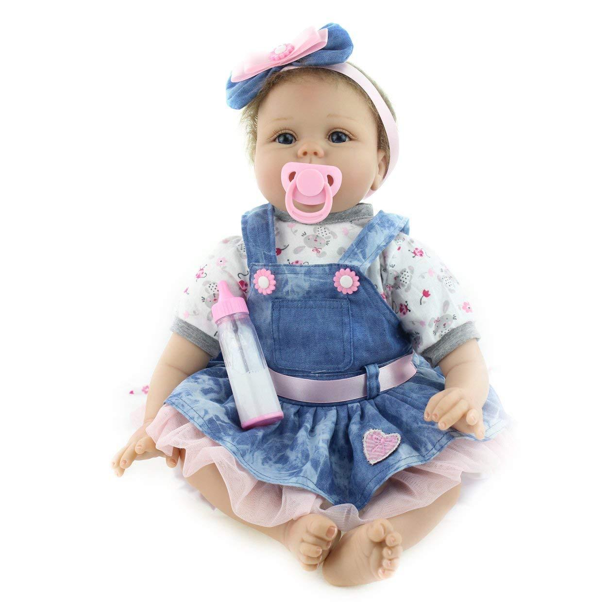 ClookYiit 55CM Cute Reborn Baby Denim Dress Doll Silicone Lifelike Newborn Doll Girl Miglior Regalo di Compleanno di Natale per Le Ragazze dei Bambini