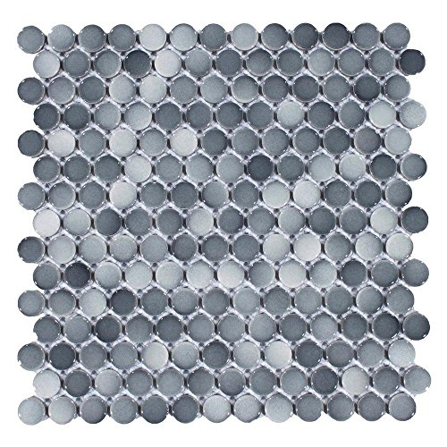 Vogue Tile Mix Dark Gray Penny Round Porcelain Mosaic (Box of 10 Sheets), Floor and Wall Tile, Backsplash Tile, Bathroom Tile on Mesh for Easy Installation