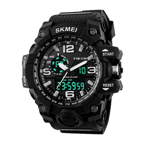amstt Hombre Sport Reloj de pulsera analógico digital cuarzo calendario alarma Cronógrafo 5 ATM resistente al agua 1155 Relojes: Amazon.es: Relojes