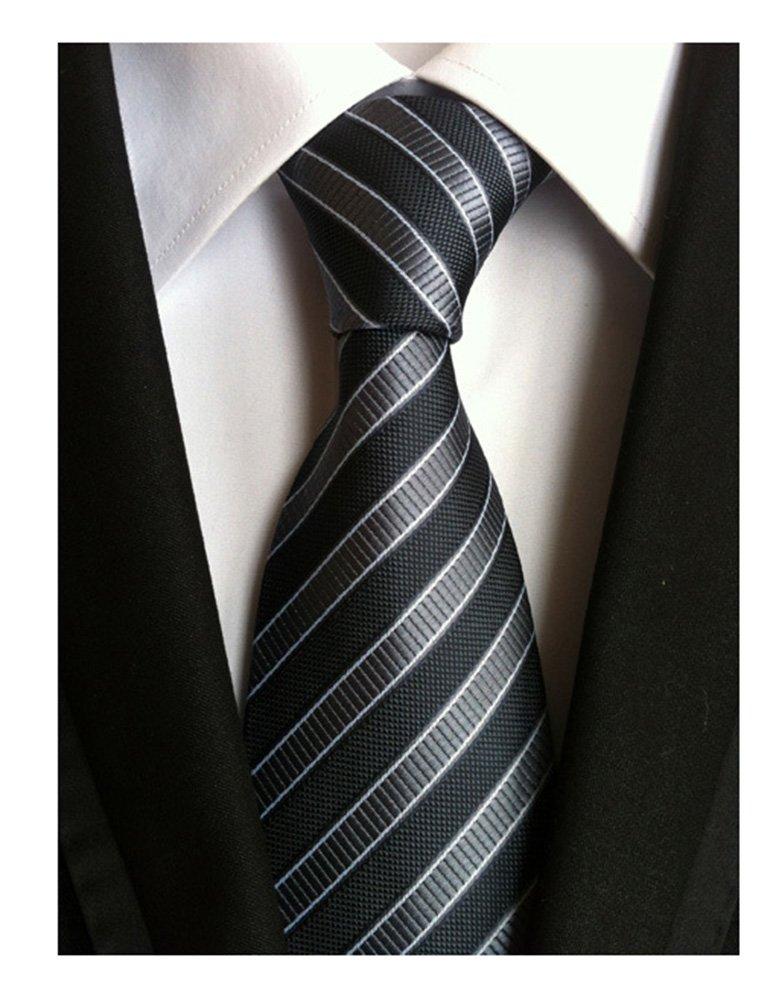 Secdtie Men's Striped Grey Black Jacquard Woven Silk Tie Formal Necktie TW01