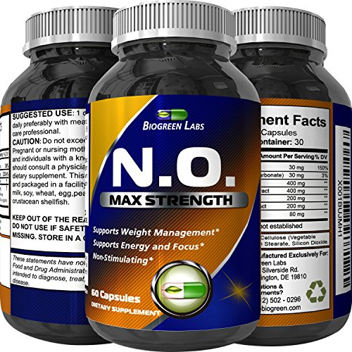 Nitric Oxide Booster Complex with L-Arginine & L-Citrulline – Amplifier for Increased Endurance – Powerful Antioxidant – Weight Loss Support Vitamin for Men Women Teens by Biogreen Labs