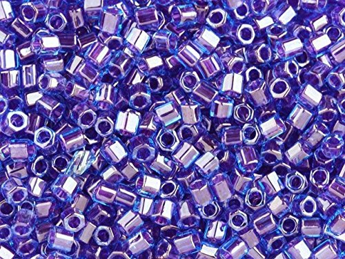TOHO Bead Hex 8/0 Violet Lined Sapphire