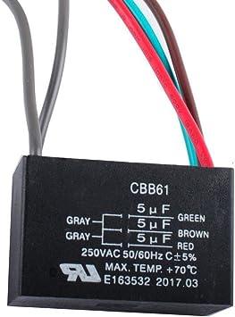 Wadoy CBB61 5 alambre ventilador de techo condensador para New Tech 5 + 5 + 5UF 50/60Hz 250 VAC: Amazon.es: Bricolaje y herramientas