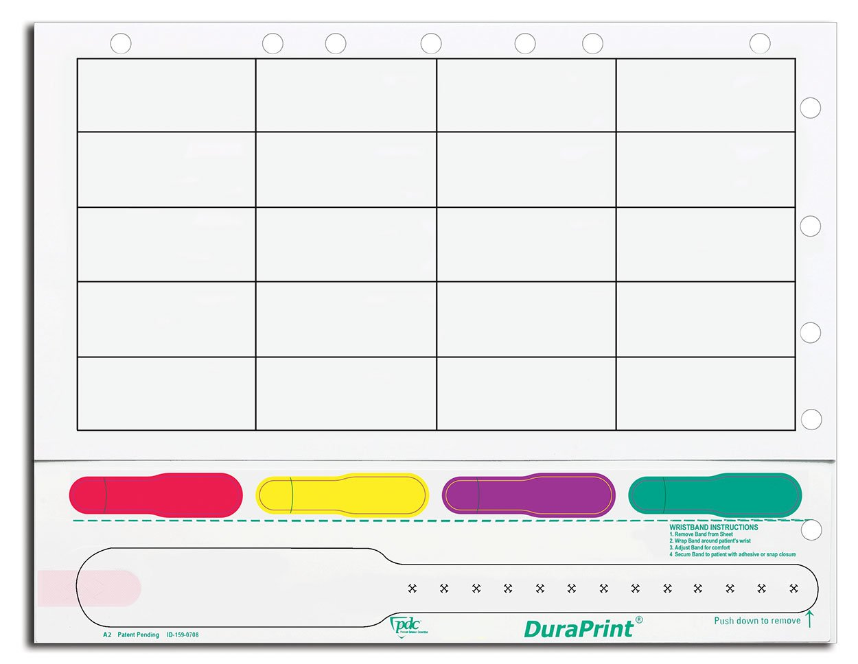 PDC Healthcare DuraPrint 9325-00-PDR Wristband and Label Sheet for Adults, Red/Yellow/Purple/Green (Box of 1000)