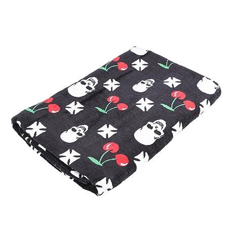 Toalla de baño toalla de playa - calaveras y cerezas sobre negro gr.