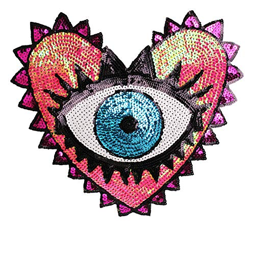 Sequin Patch Fashion Coat Patch Heart-Shaped Eye Sequins Embroidery Clothing Accessories Applique DIY Embroidery Flower Patches Jacket Badge (Style A)