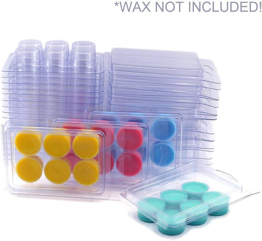 DGQ Wax Melt Molds 100 Packs Clear Empty Plastic Wax Melt Clamshells for Wickless Wax Melt Candles