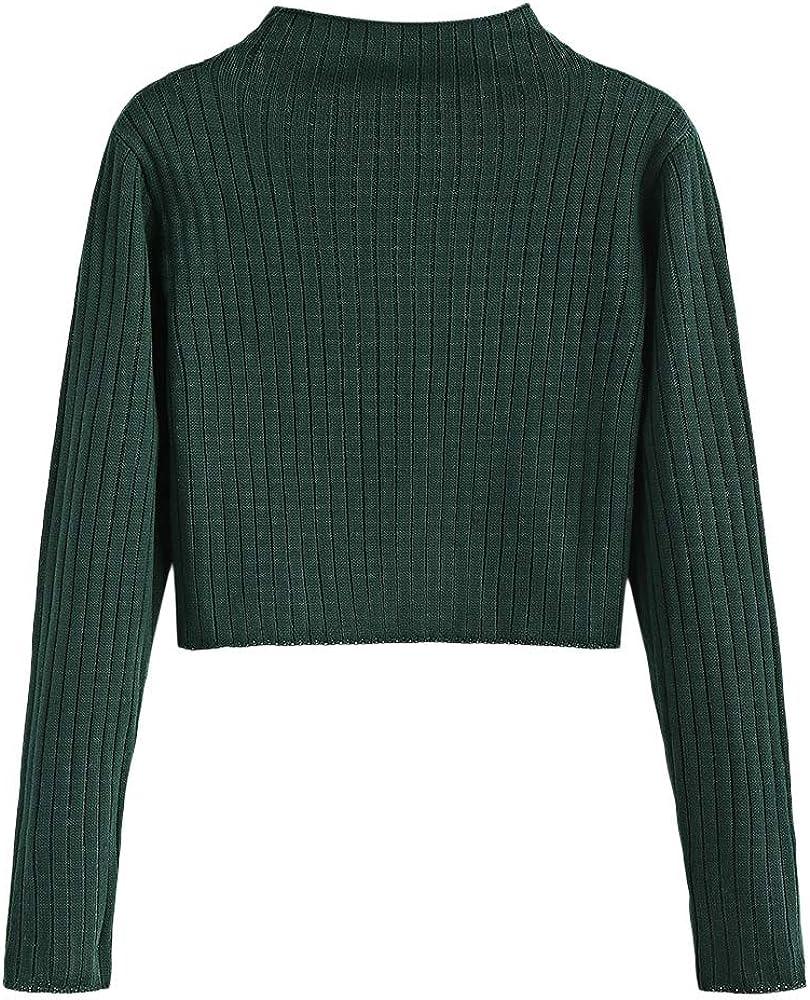 ZAFUL Damen Solide Langarm Crop Streifen Slim Sweatshirt Pullover