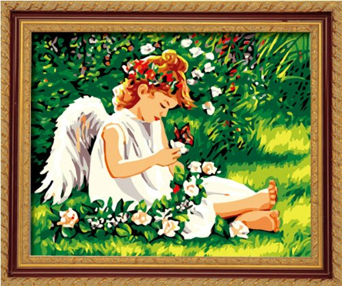 Diy oil painting, paint by number kit- Lovely angel 16*20 inch. Angel Paint