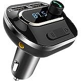 COMSOON Transmetteur FM, Bluetooth Kit de Voiture sans Fil Adaptateur Radio Chargeur de Voiture Double USB Port, Support USB Flash Drive & Carte TF, Appel Mains Libres iOS Android Mobile