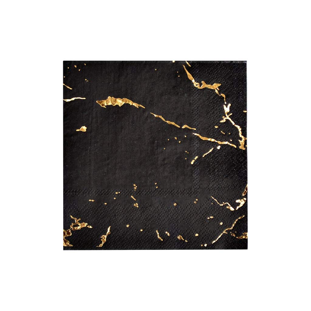 Black Marble Cocktail Paper Napkins - Graduation, Birthday, Wedding, Baby and Bridal Showers Party Napkins - Harlow & Grey Vanity (60 Count)