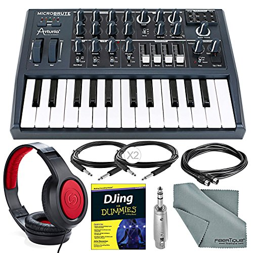 Synthesizer Bundle (Arturia Microbrute 25-Note Mini Keyboard Analog Synthesizer and Deluxe Bundle w/ Samson SR360 Stereo Headphones + Adapter + Cables + Djing for Dummies Guide)